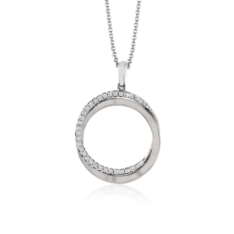 14kt White and Rose Interlocking Double Circle with Diamonds