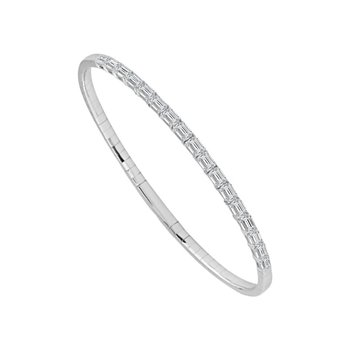 White Gold Flex Bracelet with Emerald Shaped Diamonds