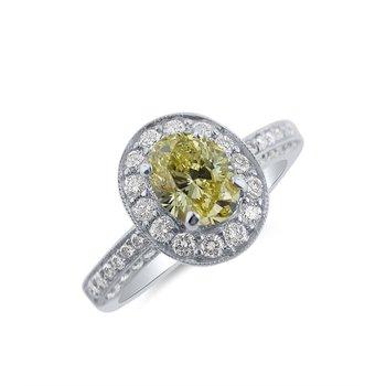Natural Yellow Diamond Ring with White Diamond Halo