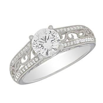 Lovely Scroll and Diamond Ring Mounting