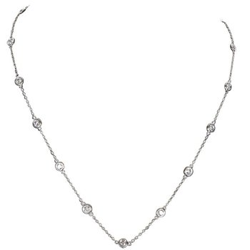 "14 Karat White Gold 18"" long 1 carat Diamond Station Necklace"