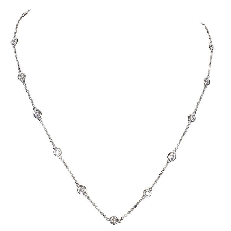 "14 Karat White Gold 18"" long 1 carat Diamond Station Necklace"