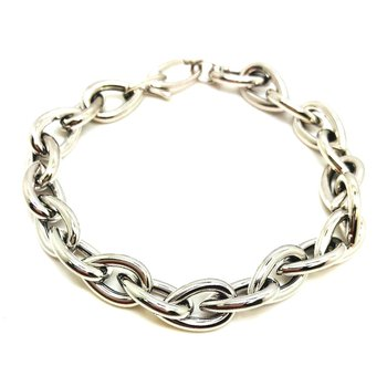 Unique Sterling Silver Pear Link Bracelet