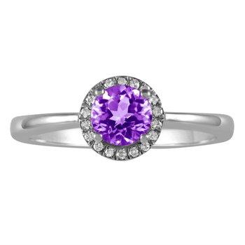 Petite Amethyst and Diamond Halo Ring