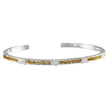 White and Yellow Sterling Silver Vermeil Bangle Bracelet
