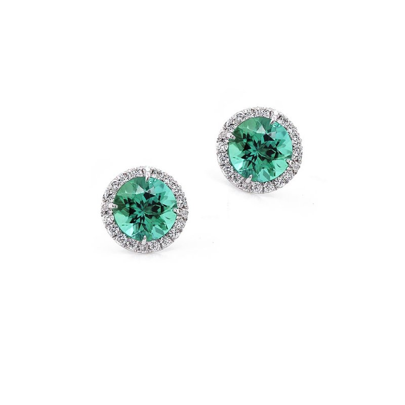 Diamond Halo earrings with Blue Green Tourmalines
