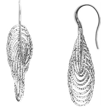 Sterling Silver Diamond Cut Drop Earrings