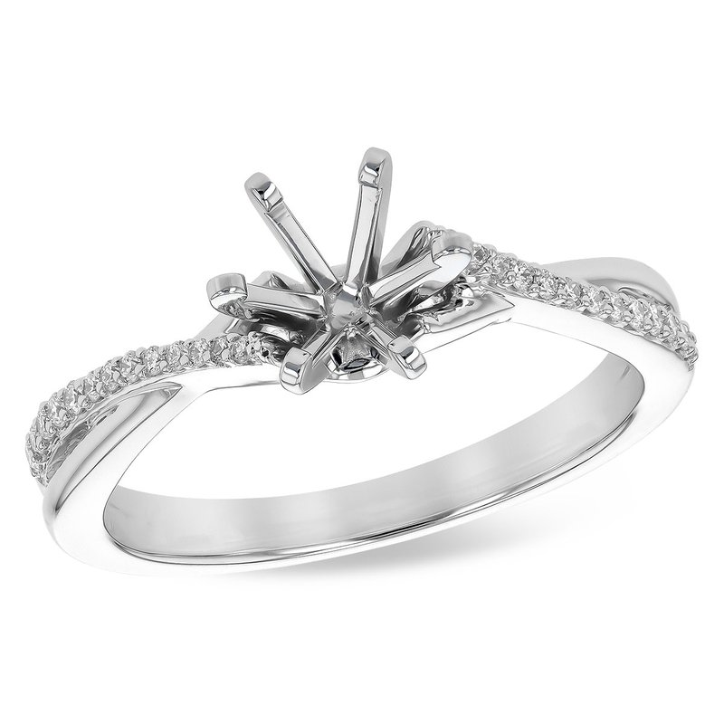 Cross Over Ring Mounting with Round Diamonds