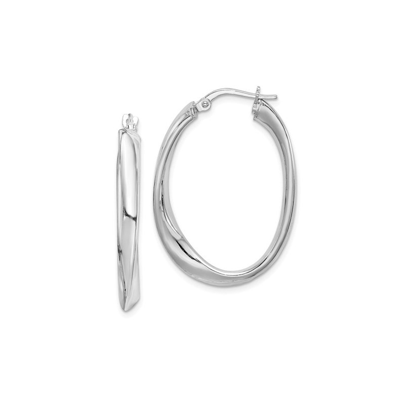 Silver Oval Medium Twisted Tube Snap Down