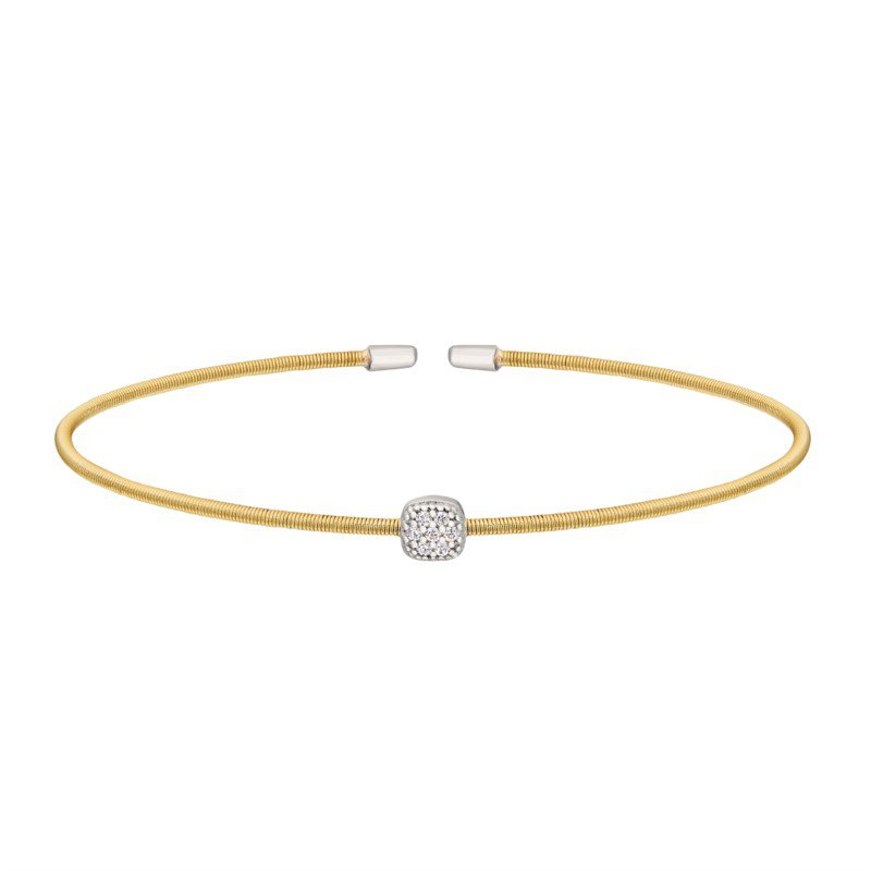 White And Yellow Sterling Silver Flex Bracelet