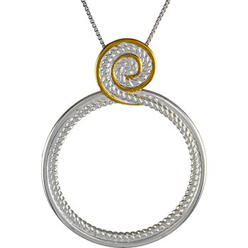 Sterling Silver Filigree & Vermeil Free Form Pendant