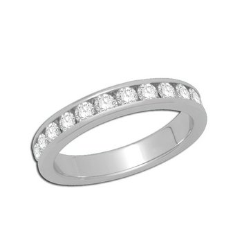 14kt White Gold Channel set Band with Diamonds