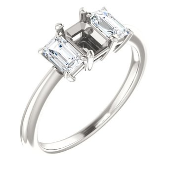 White 14 Karat Emerald Cut 3 Diamond Mounting Ring