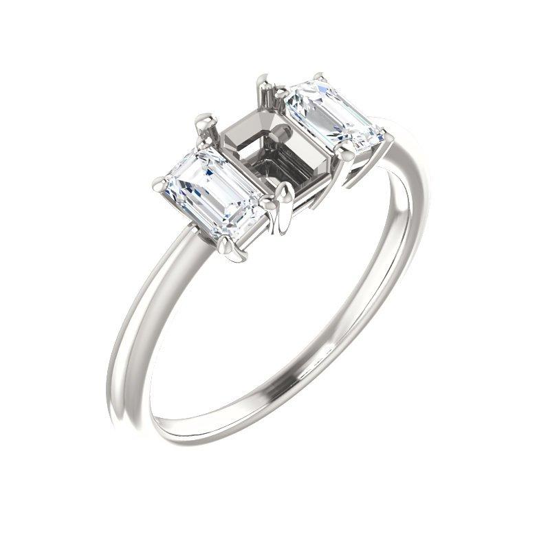 White 14 Karat Emerald Cut 3 Diamond Mounting Ring