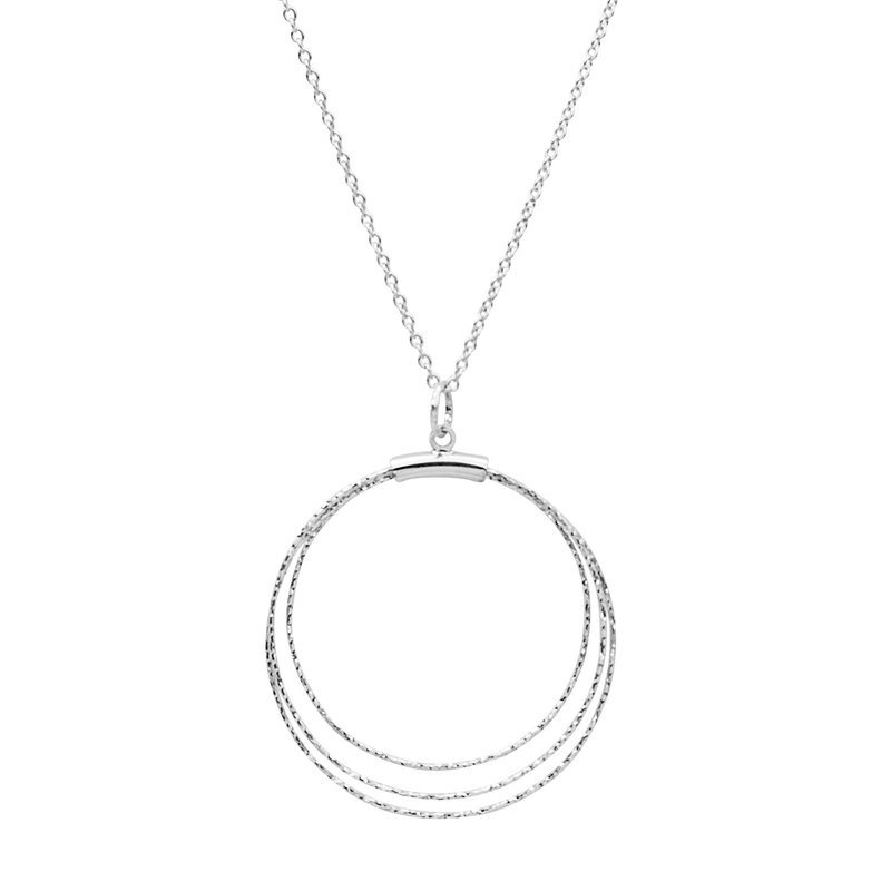 Sterling Silver Diamond Cut Circle Pendant
