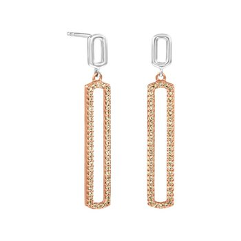 Sterling Silver and Rose Drop Earrings With Natural Brown Diamonds