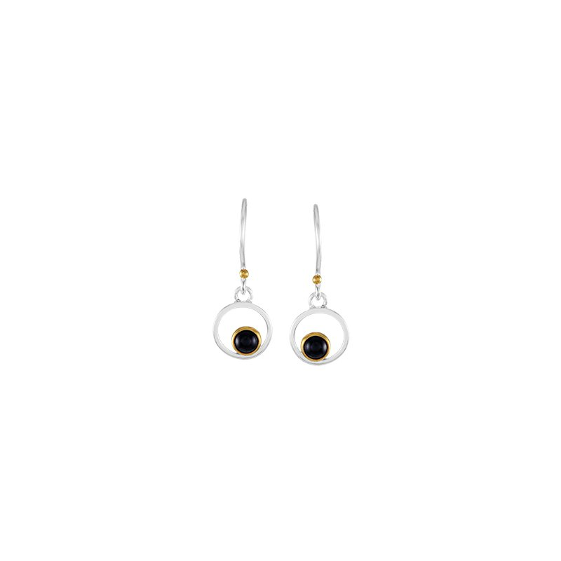 Onyx Bezel Set Drop Earrings