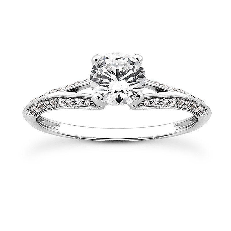 Petite Diamond Set Split Shank Engagement Ring Mounting