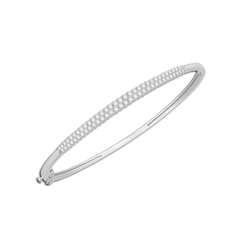 2 rows of shimmering diamonds in this white gold bangle bracelet