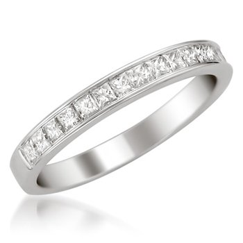 Platinum Princess Cut Diamond Band