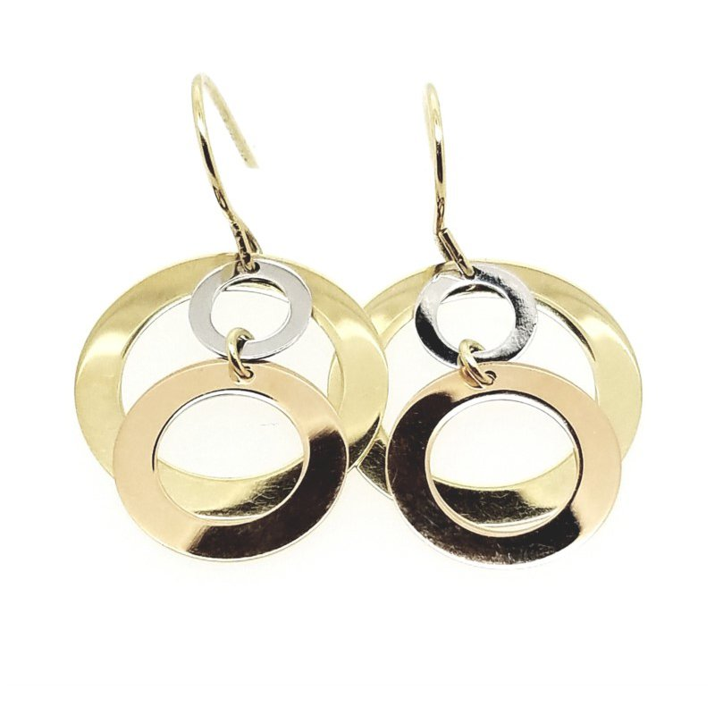 Tricolor 14 Karat Earrings