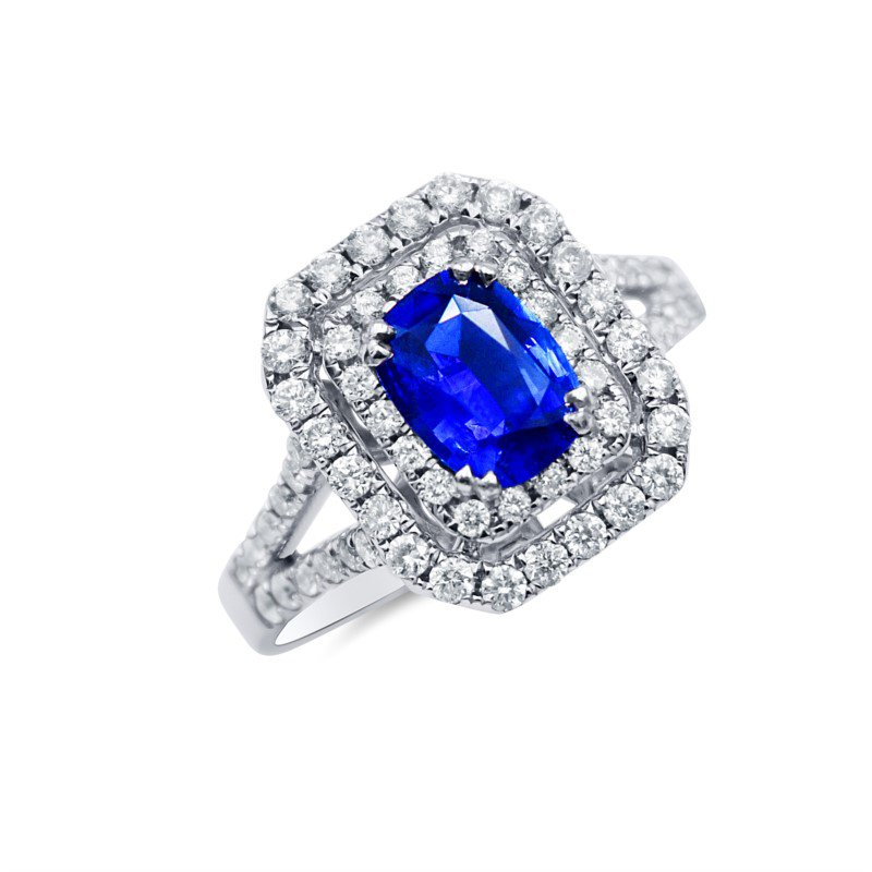 14kt White Gold Ring with Sapphire and Double Diamond Halo