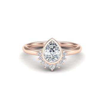 14 Karat Bezel Set Ring With Arc of 9 Round Diamonds