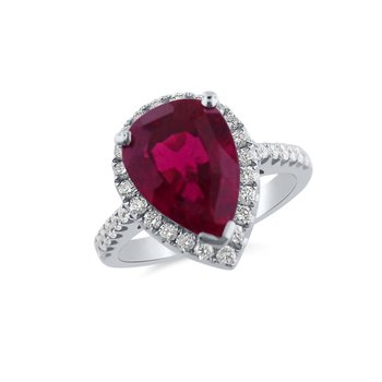 White Gold Diamond and Rubelite Ring