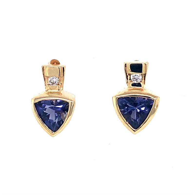 14 kt Yellow Gold Earrings with Trillion Iolites and Diamonds