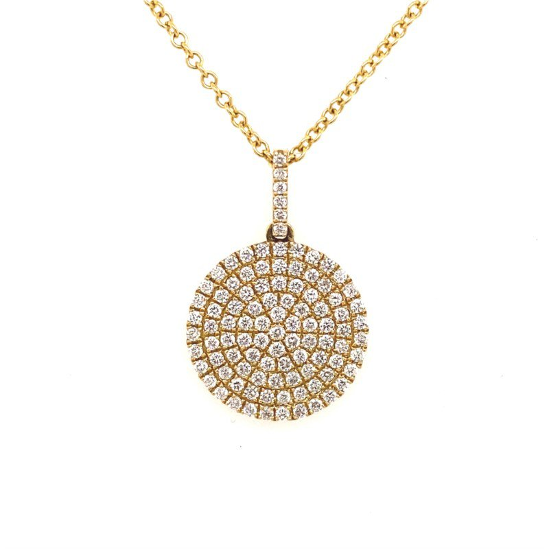 14 Karat Yellow Gold Diamond Pave Disc Pendant