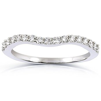 14kt White Gold Curved Diamond Band