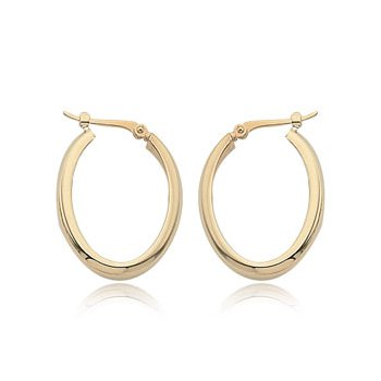 Yellow 14 Karat Small Oval Hoop Earrings