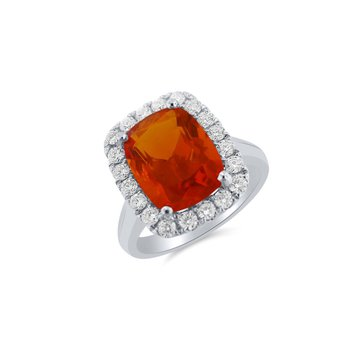 White Gold Diamond and Fire Opal Ring