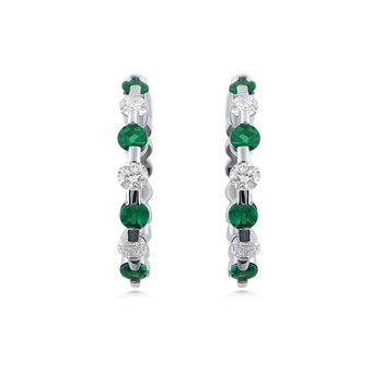 White Gold Emerald and Diamond Hoop Earrings