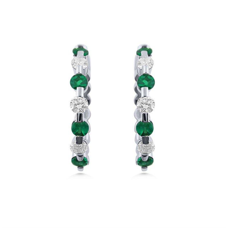White Gold Emerald and Diamond Hoop Earrings