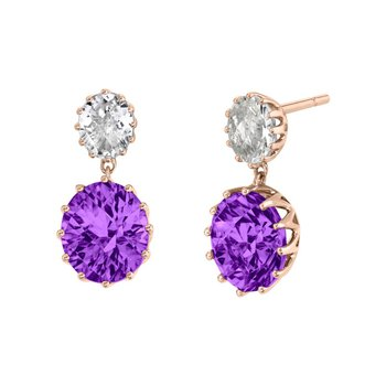 Rose Gold Drop Earrings With Amethyst and Goshanite