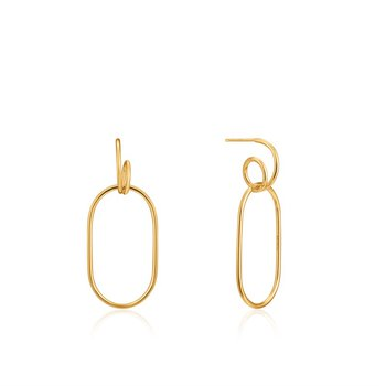 Yellow Sterling Silver Spiral Oval Hoops Earrings