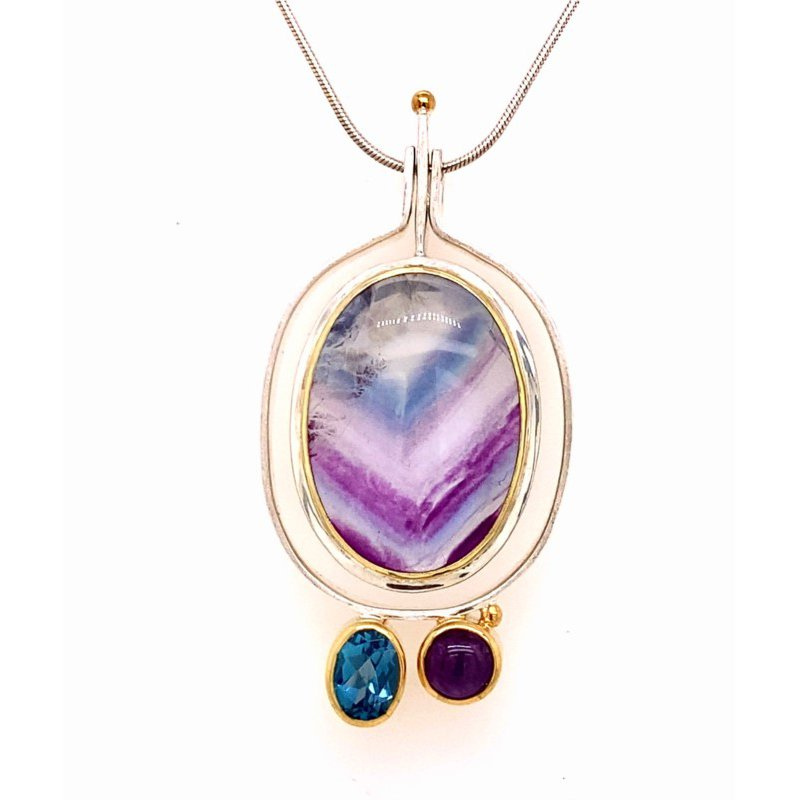 Free Form Pendant With Amethyst,Fluorite, and London Blue Topaz