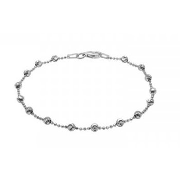 White Sterling Silver Diamond Cut Bead Bracelet