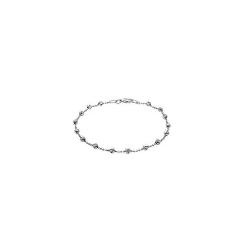White Sterling Silver Diamond Cut Bead Bracelet
