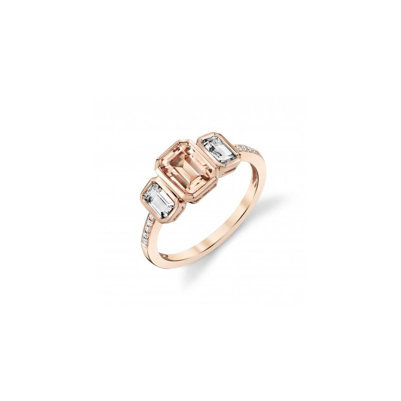 Rose Gold 3 Stone Morganite and White Topaz Ring with Diamonds