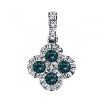 14 Karat White Gold Flower Inspired Pendant With Alexandrite and Diamonds