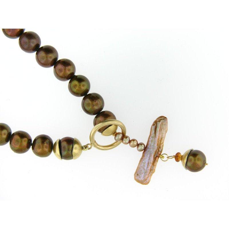 Copper Pearl Toggle Necklace