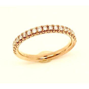 14 kt Rose Gold Prong Set Diamond Wedding Band