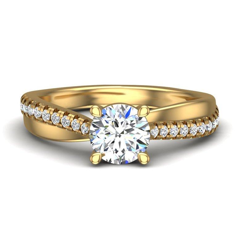 14 Karat Twisting Shank Diamond Set Ring Mounting