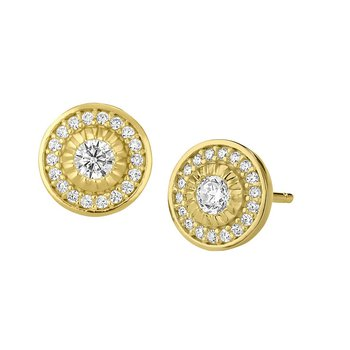 Yellow Sterling Silver Micropave Halo Studs Earrings
