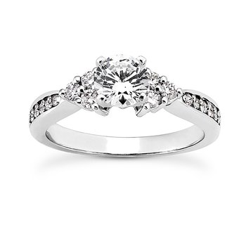 Pinched Diamond Set Shank Engagement Ring Mounting