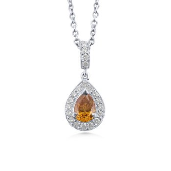 18 Kt Natural Yellow Orange Color Diamond Pendant
