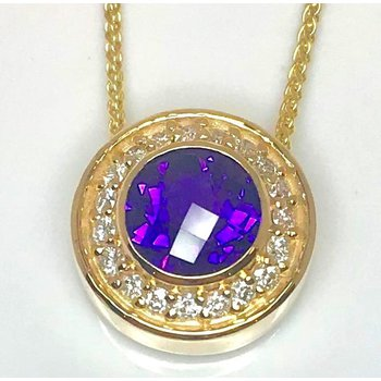 Dazzling 14 kt Amethyst and Diamond Pendant