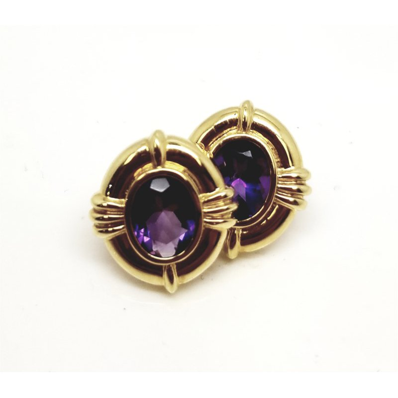 Elegant 14 kt Yellow Gold and Amethyst Earrings